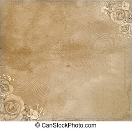 Vintage paper. - Grunge paper background with roses.