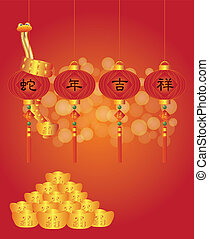 Chinese New Year of the Snake Lanterns Illustration -...