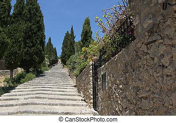 Steps at Pollensa - Calvary Steps at Pollensa, Mallorca,...