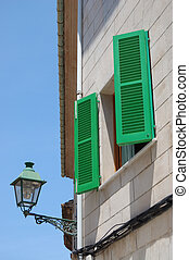 Green shutters - Brightly painted green shutters, Pollensa,...