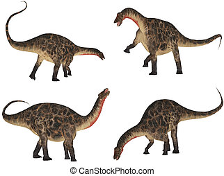Dicraeosaurus Pack - Illustration of a pack of four 4...