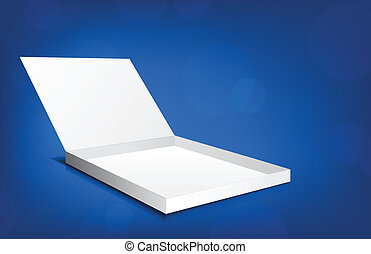 Open box - White open box on blue background with circles