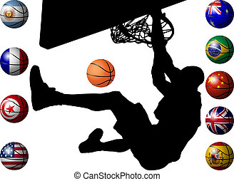 basketballs to flag