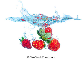Fresh Strawberry Dropped into Water with Splash on white...