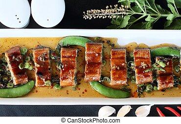 roast eel (unagi) with basil, Thai style fusion food