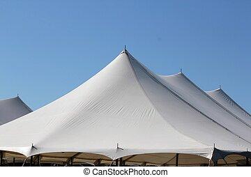 trio peak tent tops - white trio peak tent tops against a...
