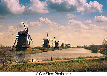 retro postcard with windmills
