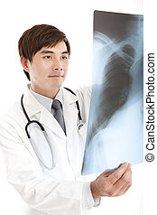 young doctor with xray