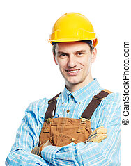 Happy worker portrait in hardhat and overall - Smiling young...