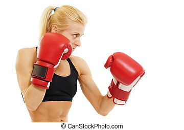 boxer woman with red boxing gloves