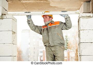mason worker bricklayer builder with level - mason worker...