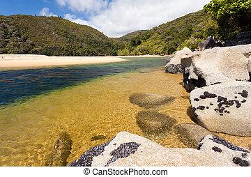 Granite boulders in Abel Tasman NP, New Zealand - Granite...