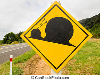 Fake attention Kauri Snail Crossing Road Sign - Fake New...