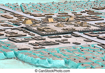 Model of Ancient Aztec city in Zocalo Square Mexico City,...