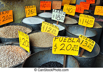 Mexican spices - Mexican spice in a spice shop located in...