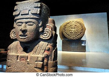 pedra, sol, -, Aztec, Calendário