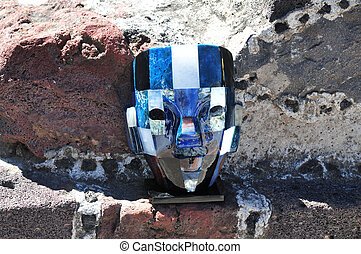 Pyramids of Teotihuacan - Mexican mask or sale in the...