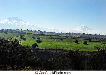 Popocatépetl and Iztaccíhuatl Volcano Mountains.