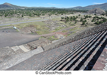 Pyramids of Teotihuacan - General view from the to of the...