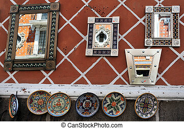 Mirrors in Puebla city streets - Colonial building reflected...
