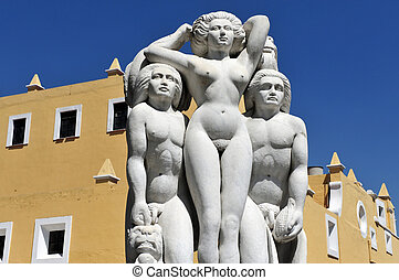 Puebla city artists neighborhood - Statue in the Barrio del...