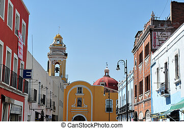 Puebla City Cityscape - Church and colonial building in...