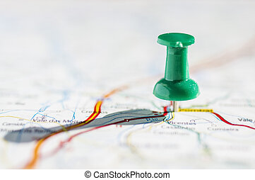 Travel destination - Thumbtack in a map with great light and...