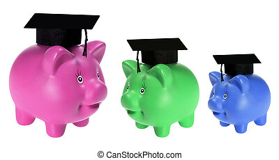 Piggy Banks with Mortarboards