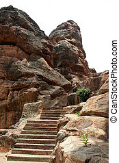 Rock-cut Steps - Steps for cave temples cut in rocks at...