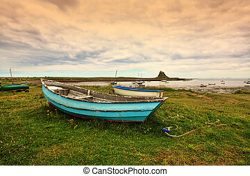 And old boat at the beach, Holy Island, Scotland - And old...