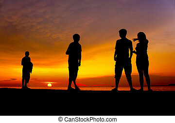 great sunset with human silhouette