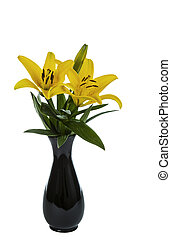 Yellow Tiger Lily Flowers in full bloom in Vase - Yellow...