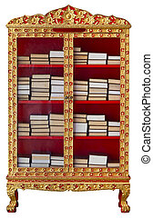 Antique cabinet with Buddhist Meditation Books - Antique...