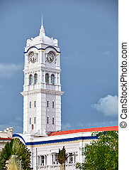 Clock tower. Malaysia, Georgetown - A large clock tower....