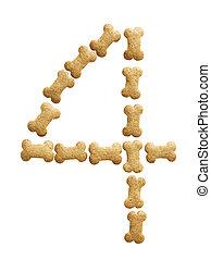 Number 4 made of bone shape dog food on white background,...