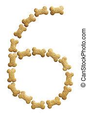 Number 6 made of bone shape dog food on white background,...