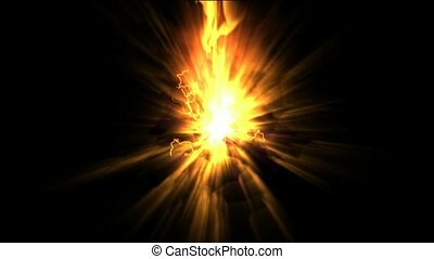 explosion fire,rays light lightning