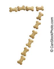 Number 7 made of bone shape dog food on white background,...
