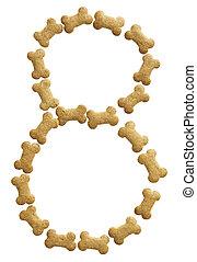 Number 8 made of bone shape dog food on white background,...
