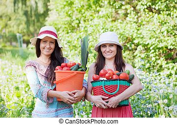 happy women with vegetables