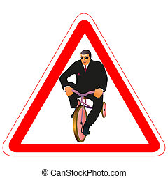 Warning road sign with businessman and little bike