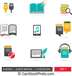 collection of E-book, audiobook and literature icons - 1
