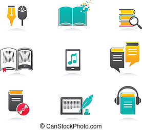 E-book, audiobook and literature icons - 1 - collection of...