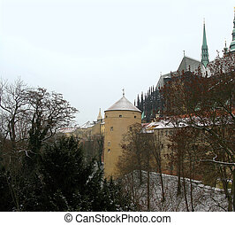 Old castle in Prague. Winter time