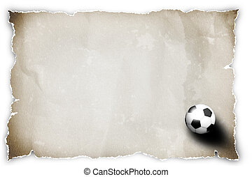 soccer ball on grung recycled paper.