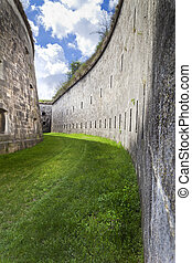 Left   - Formidable moat of a big fortress in Hungary