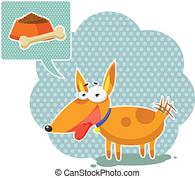 cartoon dog - funny cartoon dog thinking about food