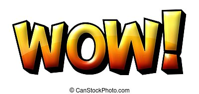 WOW Text Comic Book Sale Icon - Illustration of the word WOW...
