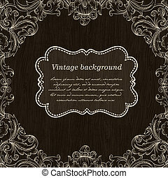 Vintage Frame Design On Wooden Background For Greeting Card. Vector, Eps10.