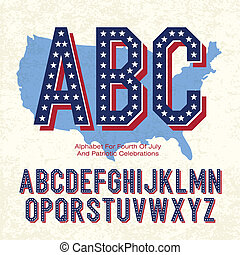 Alphabet For Fourth Of July And Patriotic Celebrations. Vector, EPS10